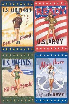 #Army #Marines #Navy #Vintage #Pinup