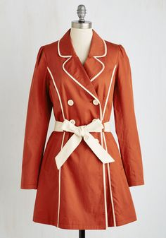 East Coast Tour Coat in Paprika. Feel like the Maine attraction as you cruise down the coast in this retro trench coat. #red #modcloth
