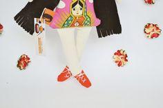 Frida Kahlo Cloth doll Handmade doll stuffed by Mandarinasdetela