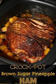 Brown Sugar Pineapple Ham for the Holidays Crock-Pot Brown Sugar Pineapple Ham - the sweetest, most tender ham & made with just 3 ingredients!Crock-Pot Brown Sugar Pineapple Ham - the sweetest, most tender ham & made with just 3 ingredients! Crockpot Dishes, Crock Pot Slow Cooker, Crock Pot Cooking, Slow Cooker Recipes, Cooking Recipes, Ham In Slow Cooker, Slow Cooked Ham, Crock Pot Dinners, Cooking Games