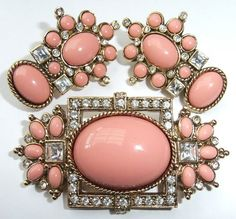 Vintage Elizabeth Taylor Faux Sea Coral Crystal Rhinestone Brooch Earrings   eBay