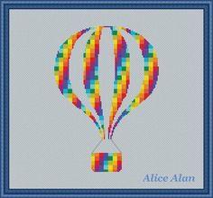 Cross Stitch Pattern Balloon hot Air Silhouette in by HallStitch