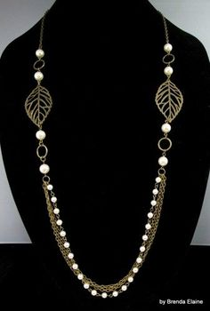 640ef4508d1d Necklace with Leaves and Long Strand of Pearls and Chains