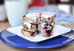 Healthy Blueberry 'Cheesecake' (w/cream cheese) Pancakes.  From ChocolateCoveredKatie.com