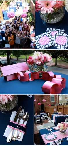 Wedding Shower by Amber Karson Events | pink and navy blue color palette
