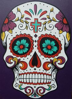 Sugar Skull Stenciled Canvas Easily create this colorful sugar skull with a stencil and oil based stencil creme. Sugar Skull Stencil, Sugar Skull Painting, Sugar Skull Art, Stencil Art, Mexican Skulls, Mexican Art, Pintura Sugar Skull, Dibujos Sugar Skull, Skull Template