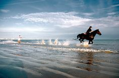 Waterskiing behind a horse on the west coast of France.