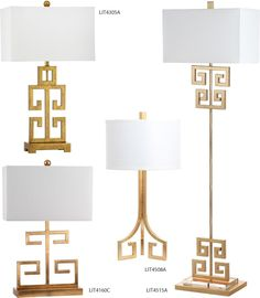 Safavieh Lighting Greek Key Table and Floor Lamps and Coordinates - Inspired by the ancient Greek symbol for infinity, the Greek Key table lamp is the key to a timelessly beautiful home. This modern-day interpretation is crafted of metal with a sleek gold finish and topped with a crisp white rectangular shade. Outdoor Table Lamps, Unique Table Lamps, Table Lamps For Bedroom, Bedside Table Lamps, Transitional Table Lamps, Transitional Lighting, Ancient Greek Symbols, Buffet Lamps, Wood Stone