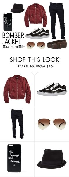"""""""Bomber Jackets 6"""" by noofficial-acc ❤ liked on Polyvore featuring Topshop, Vans, Dsquared2, Ray-Ban, BKE, HUGO, men's fashion and menswear"""