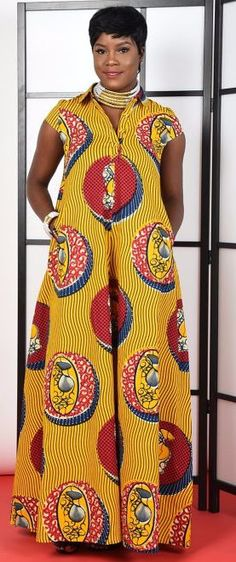 Cece yellow -Kaftan Maxi Dress. African print Kaftan Maxi. Full A-line silluete. stand up collar. 2 side pockets. 100% cotton. Can be dressed up or down. (affiliate)