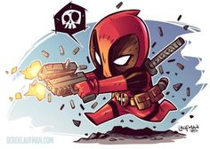 Captin Deadpool, NO. Just Deadpool Chibi Marvel, Marvel Art, Marvel Dc Comics, Chibi Superhero, Comic Books Art, Comic Art, Deadpool Art, Deadpool Chibi, Deadpool Kawaii