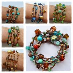 Blue Eyed Girl - crochet bead bracelets