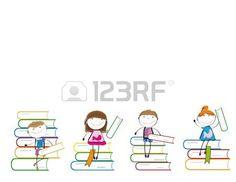 Gelukkig kleurrijke kinderen op vele kleurrijke boeken