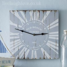Old Beach Square Wall Clock