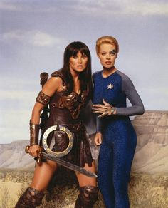 Xena, Warrior Princess (Lucy Lawless), and Star Trek Voyager's Seven of Nine (Jeri Ryan).