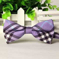 High Quality Fashion Men Casual Cotton Plaid Bow Tie