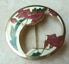 Vintage cloisonne enamel floral design cutaway brooch by designer Fish and Crown