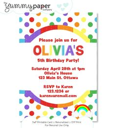 Classic Rainbow Party Invitation  - Personalized Birthday Printable Invite rp01 - Signature Collection. $15.00, via Etsy.