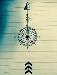 Very quick sketch. Compass arrow tattoo