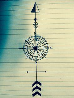 Very quick sketch. Compass arrow tattoo