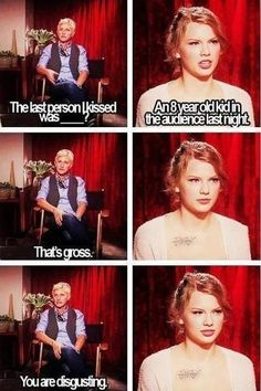 Ellen Degeneres and Taylor Swift... Lol the look on Taylor's face!!