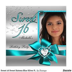 Sweet 16 Sweet Sixteen Blue Silver Photo Card Sweet 16 Sweet Sixteen Blue teal Silver Photo 16th Birthday Party Invitations All Occasion Invite Add Photo invitation All Occasions birthday invites