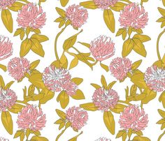 Love this fabric – Clover flowers (pink & white) Newmom – Spoonflower