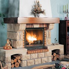 Build A Fireplace, Home Fireplace, Fireplace Design, Fireplace Mantels, Beautiful House Plans, Beautiful Homes, Condo Bathroom, Backyard Garden Landscape, Rustic Fireplaces