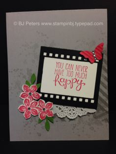 You can never have too much happy!   Today, I am paying it forward with a handstamped card to a friend who has had a few challenges lately.  My challenge to you is to do the same thing and leave me a message on my blog  - I would love to share that wonderful feeling you'll have when you know you will be making someone's day!   http://stampinbj.typepad.com/weblog/2014/04/happy-never-enough.html