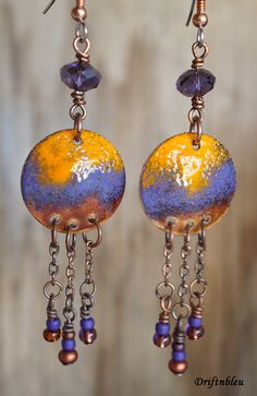 Enameled copper earrings with copper chain danglers by driftnbleu