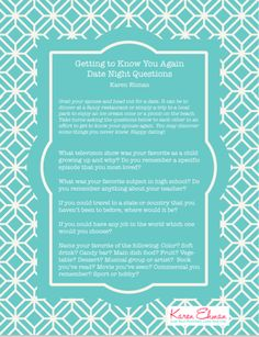 Getting to Know You Again.. Date night questions to ask your spouse! @karenehmanp31 #RealLifeApplication
