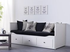 HEMNES Day-bed frame with 3 drawers - IKEA Four functions - sofa, single bed, double bed and storage solution. Ikea Ektorp Sofa, Ikea Hemnes Daybed, Hemnes Day Bed, Cama Murphy Ikea, Cama Ikea, White Daybed, Day Bed Frame, Murphy Bed Plans, Guest Room Office