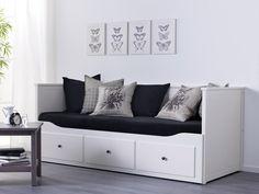 HEMNES bedbank | #IKEA #IKEAnl #wit #eenpersoonsbed #tweepersoonsbed #bank #opbergoplossing #lades