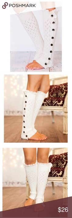 White Leg Warmers ✨ Ships in 5-7 Days ✨ Beautiful white button down leg warmers with ruffles. Soft and stretchy. So cute with boots. 65% polyester, 35% cotton. Machine wash cold.   ↓Follow me on Instagram ↓         @ love.jen.marie Jennifer's Chic Boutique Accessories Hosiery & Socks