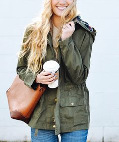 Look at this So Perla Olive Plaid-Contrast Hooded Anorak on #zulily today!