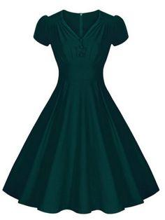 Vintage V-Neck Short Sleeve Pure Color Ruched Women's DressVintage Dresses | RoseGal.com
