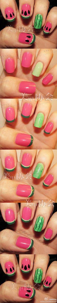 Super cute watermelon nails!