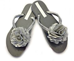 0aa381123ae3 Silver Gray Flip Flops for the bride