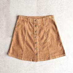 corduroy button up a line skirt - camel