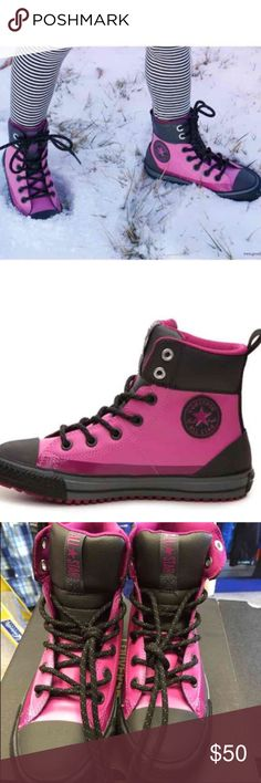Authentic Waterproof Pink/ blackHigh top converse Junior  Size 5  Available size 2 4 5 6   Show off her cool street chic style with the Converse Chuck Taylor All Star  sneaker boot. This casual kids high-top provides rugged yet adorable style perfect for wearing all year! Two-toned synthetic upper Lace-up closure Heel pull tab Padded collar and tongue Rubber cap toe Mesh lining Vulcanized rubber lug sole Imported no box  Price firm unless bundle. Converse Shoes Rain & Snow Boots