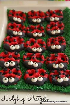 50 Spring Crafts and Snacks Pt. 1 Use Glutino pretzels to make these cute little ladybugs GF!