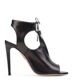 Aquazzura Black Leather Lace-Up Cutout Sandal