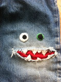 patched jeans! #patched #hipster #monster #jeans #crazyface #strange #friendly #makeuse #bandmark