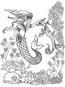 Mermaid With Her Seahorse Coloring Page