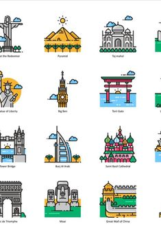 A set of 101 special color line icons that depict worldwide tourist destinations, famous landmarks, popular monuments, historical buildings and more. Famous Monuments, Famous Buildings, Famous Landmarks, Building Icon, Building Drawing, Simple Line Drawings, Easy Drawings, Taj Mahal Dibujo, Architecture Journal
