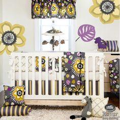 Baby Girl Purple Grey Yellow Modern Floral Crib Cot Nursery Quilt Bedding Set #GlennaJean