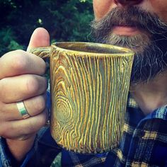 Fresh outta the kiln, I have a small batch of Lumberjack mugs, lumberjack flasks and matching shot glasses. Just in time for Father's Day! Shipping out every day, or porch pick up option for locals. #fathersdaygifts #fathersday #lumberjack #woodworking #coffee #mug #woodisgood #fauxbois #potterymug #pottery #handmade #freshouttathekiln #morningwoodmugs #dad #ilikebigmugsandicannotlie #pnw #campfire #beerstein #woodsmanlife Wood Mug, Morning Wood, Wood Worker, Pottery Mugs, Pottery Studio, Mug Shots, Handmade Pottery, Gifts For Him, Guy Gifts