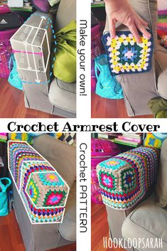 Crochet Armrest Cover: make your own with my easy crochet pattern Granny Square Crochet Pattern, Tunisian Crochet, Crochet Squares, Easy Crochet Patterns, Knitting Patterns, Flower Granny Square, Granny Squares, Doll Patterns, Crochet Home