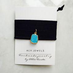 Mini turquoise pendant on black suedeWear it as a wrap bracelet or wrap it as a choker necklace!