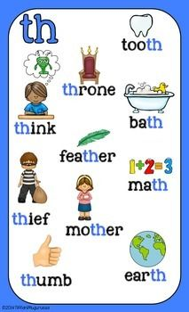 Digraph Posters by Time 4 Kindergarten Phonics Reading, Teaching Phonics, Phonics Activities, Kindergarten Reading, Kids Reading, Teaching Reading, Teaching Kids, Kindergarten Teachers, Phonics Chart